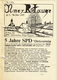1989: Der SPD Ortsverein Hilgertshausen (damals noch eigenständig) wird 5 Jahre alt